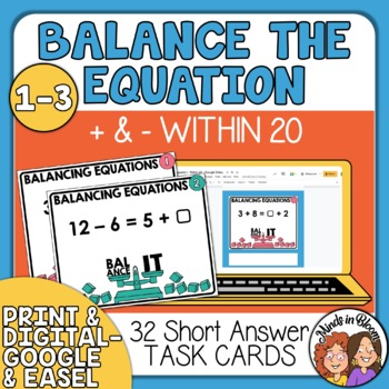 Balance the Equation Task Cards: Addition and Subtraction within 20