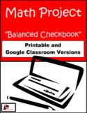 Balanced Checkbook - Math Project - Printable & Distance L