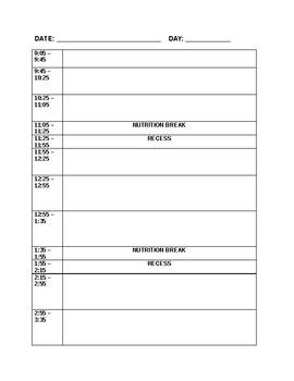 Balanced Day Plan Template