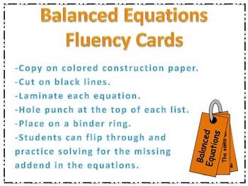 Balanced Equation Fluency Cards