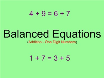 Balanced Equations Adding One Digit Numbers - Smartboard