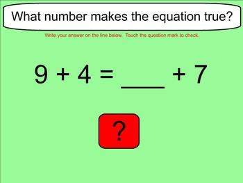 Balanced Equations Adding One Digit Numbers - Smartboard