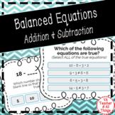 Balanced Equations - Addition & Subtraction Boom Cards SOL 3.17