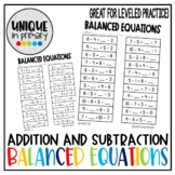 Balanced Equations Addition/Subtraction Equal to and < > = 0-10 and 0-20