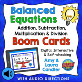 Balanced Equations Mixed Operations Boom Cards (with Audio