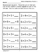 Addition Worksheets (Balanced Equations, + Full Color Game and Math Mat)