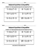 Balanced Equations & Inequalities