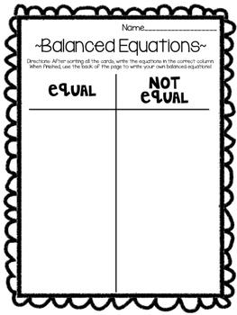 Balanced Equations Sort
