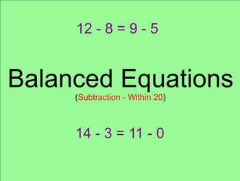 Balanced Equations Subtraction Within 20 - Smartboard