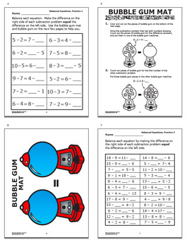 Balanced Equations Subtraction Worksheets PLUS Full Color Game and Math Mat