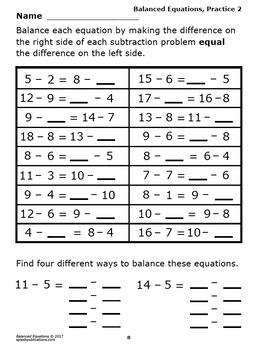Balanced Equations Worksheets + Full Color Balanced Equations Game and Math  Mat