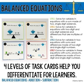 Balancing Equations Sums & Diff. Task Cards {Differentiated}