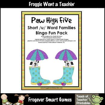 Balanced Literacy Center -- Paw High Five (short u word families)