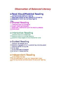 Balanced Literacy Checklist