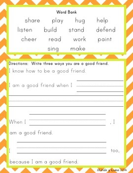"Mini Book and Writing Prompts ""We Are Friends"""