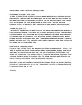 Balanced Literacy Parent Letter