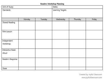 Balanced Literacy Planning Form