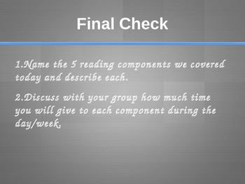 Balanced Literacy PowerPoint Presentation- Focus on Reading Components