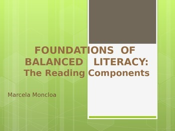 Balanced Literacy Powerpoint - The Reading Components