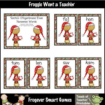 Nonsense Words--Santa's Gingerbread Elves Nonsense Word Cards
