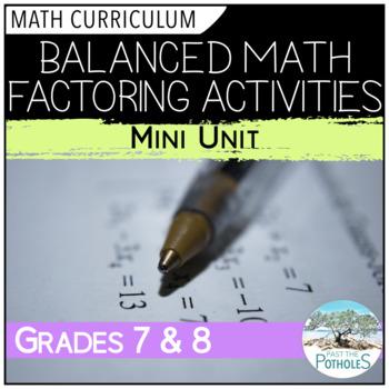 Balanced Math Factoring Activities - mini unit