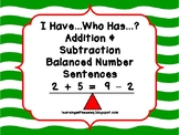 Balanced Number Sentences I Have Who Has