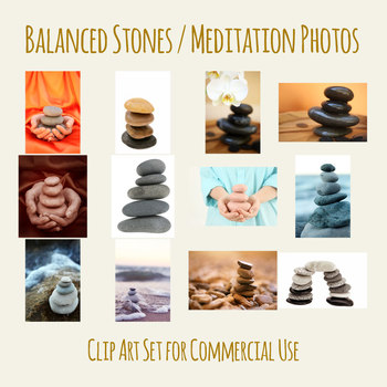 Balanced Stones - Zen Meditation Photos / Clip Art Set for Commercial Use