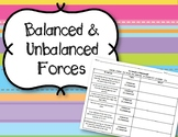Balanced & Unbalanced Forces Worksheet