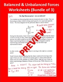 Balanced & Unbalanced Forces Worksheets (Package of 3)