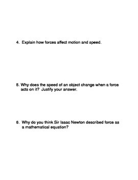 Balanced, Unbalanced Forces, and Motion