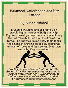 Balanced, Unbalanced and Net Forces-Practice Problems