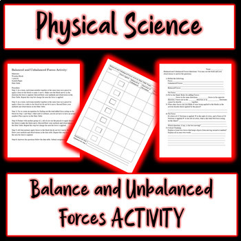 Balanced and Unbalanced Forces Activity