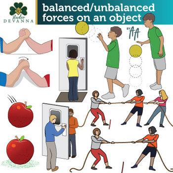 Balanced and Unbalanced Forces Clip Art