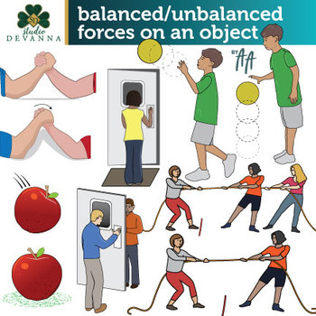 Balanced and Unbalanced Forces Clip Art