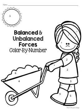 Balanced and Unbalanced Forces Color-By-Number