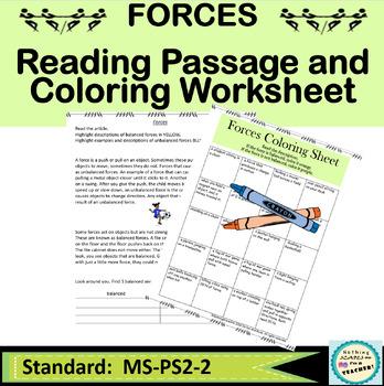 Balanced and Unbalanced Forces Coloring Printable Worksheet