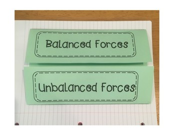 Balanced and Unbalanced Forces Foldable and Warm Ups