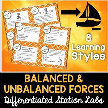 balanced and unbalanced forces student led station lab by kesler science