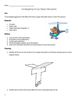 balanced and unbalanced forces paper helicopter investigation