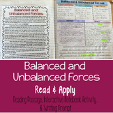 Balanced and Unbalanced Forces Reading Comprehension Interactive Notebook