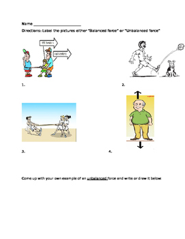 Balanced and Unbalanced Forces Worksheet by Miss Ross' Store | TpT