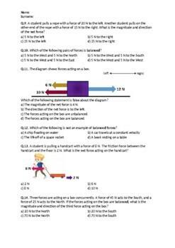 Balanced and Unbalanced Forces - Worksheet