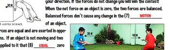 Balanced unbalanced forces motion reading activity physics jr high no prep NGSS
