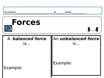 Balanced and unblalanced forces note taking
