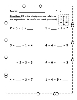 Balanced expressions (equivalent equations) practice