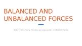 Balanced v. Unbalanced Forces PPT