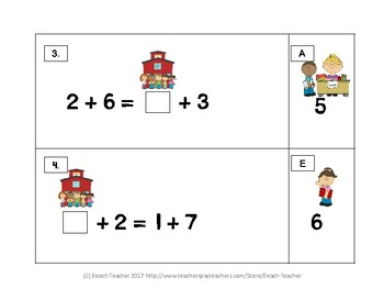 Back to School Balancing 1-Digit Equations Math Center 1.OA.7