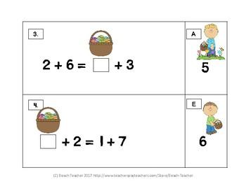 Easter Themed Balancing 1-Digit Equations Math Center 1.OA.7