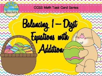 Balancing 1-Digit Equations Math Center (Easter) 1.OA.7