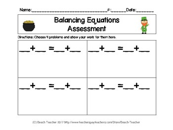 Balancing 1-Digit Equations Math Center (St. Patrick's Day)